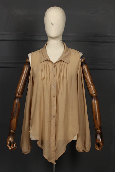 Light Brown Fusion Top - 1208 - leftover.pk