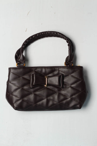 (B-01) Dark Brown Leather Hand Bag (126-Ht-02) - leftover.pk