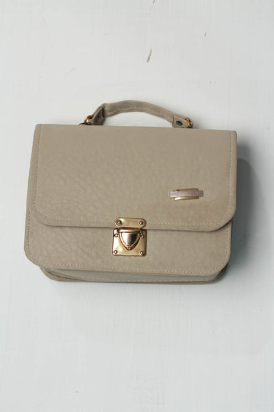 (B-01 Light Beige Leather Shoulder Bag (126-Sb-04) - leftover.pk