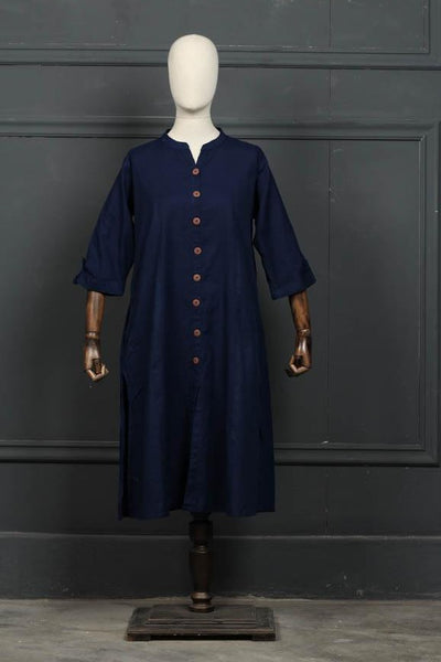 (A-04) Blue 1 pc Stitched | Khaddar Kurta (126-Ku-07) - leftover.pk