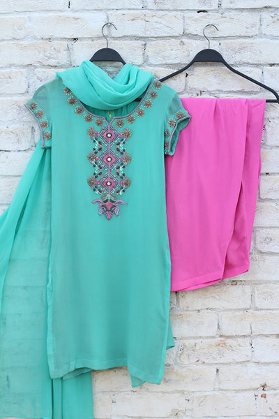 Sea Green Chiffon Hand Embroidered Shirt, Dupatta + Pure Chinese Grip Shalwar - leftover.pk