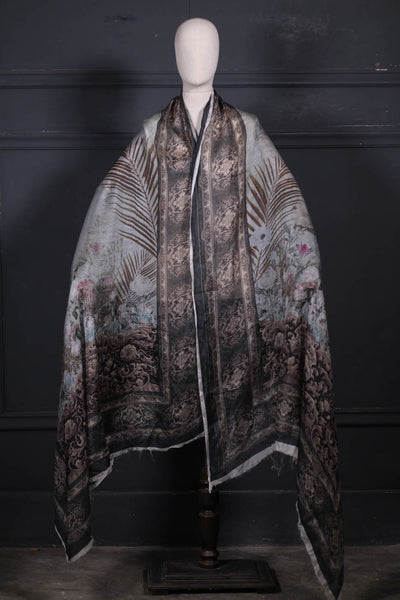 (C-02)- Digital Printed Silk Dupatta (186-DPS-075) - leftover.pk