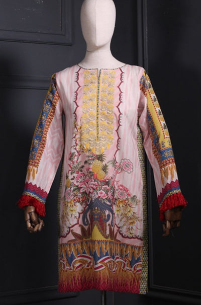 Multi Colour Digital Printed Embroidered Lawn Kurta - leftover.pk