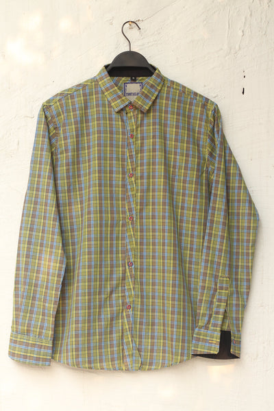 Men Cotton Yellow & Brown Shirts-107 - leftover.pk