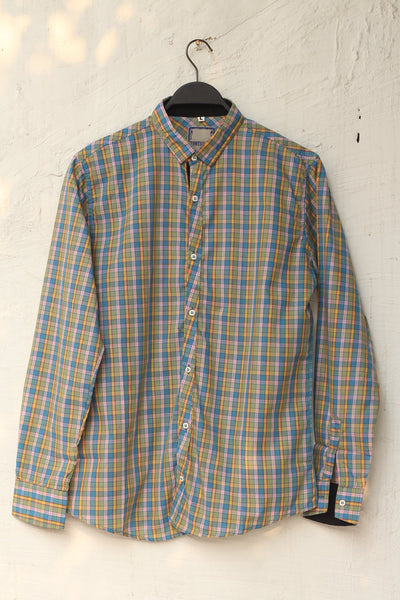 Men Cotton Check Blue & Yellow Shirts-107 - leftover.pk
