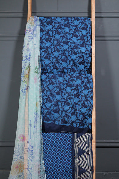 2 Pc (Unstitched) - Blue Printed Lawn Shirt With Patch + Printed Chiffon Dupatta - leftover.pk