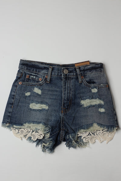 Lace Ripped shorts - leftover.pk