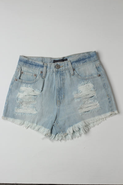 Sky Blue Ripped shorts - leftover.pk