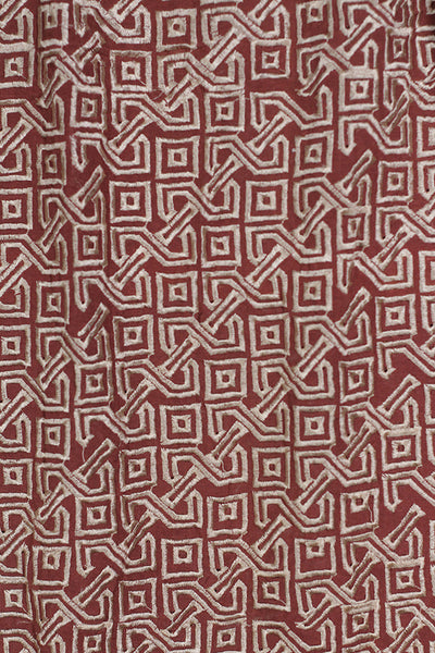 Brown Embroidered Karandi Fabric By Metre - leftover.pk