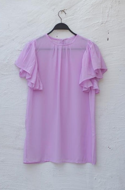 Purple Pleaded Sleeves Chiffon Fusion Top - leftover.pk