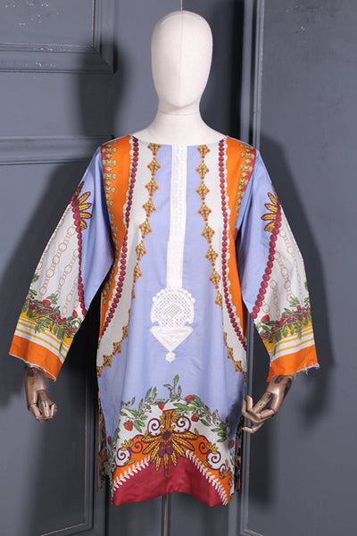 (d02) Digital Printed Kurta With Embroidery (165-KR-001) - leftover.pk
