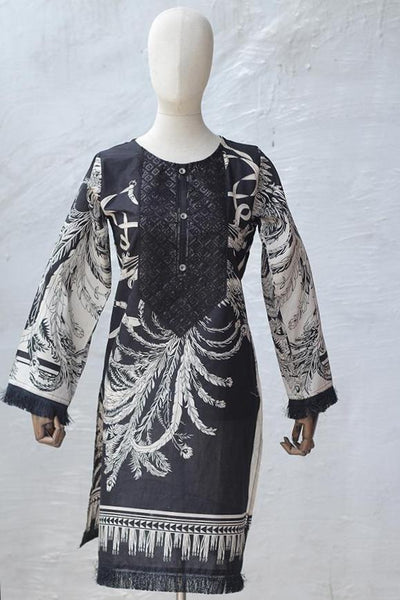 Print + Embroidered Cotton Kurta (195-KR-LO-12) - leftover.pk