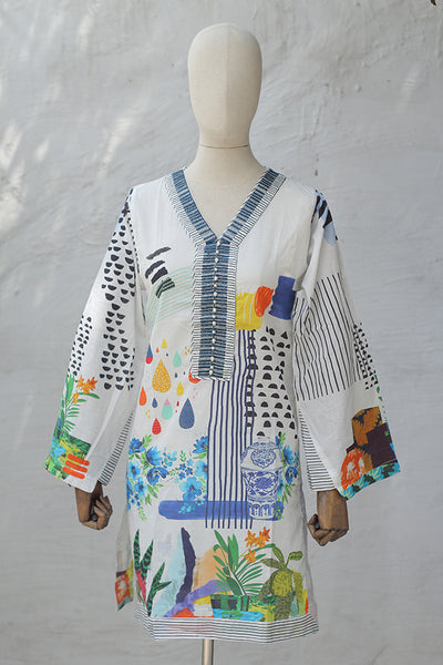 Ready To Wear - Digital Printed + Embroidered Lawn Shirt Minor Fault (195-MFKR-020) - leftover.pk
