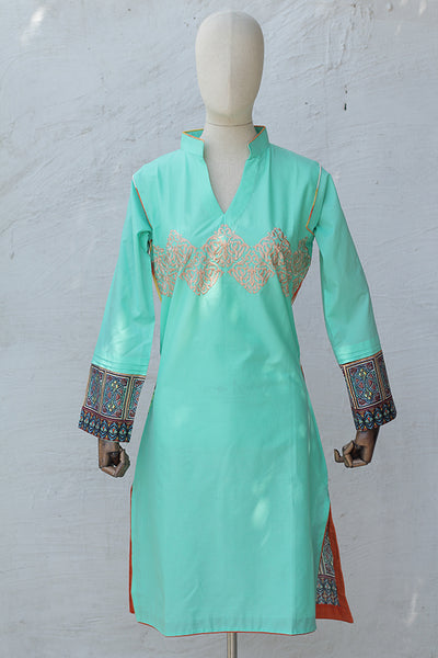 (E03) Digital Printed & Embroidered Ready To Wear Kurta - (195-KR-032) - leftover.pk