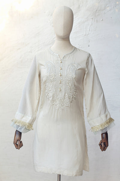 Off-white Raw Silk Embroidered Ready To Wear Shirt (195-LP-001) - leftover.pk