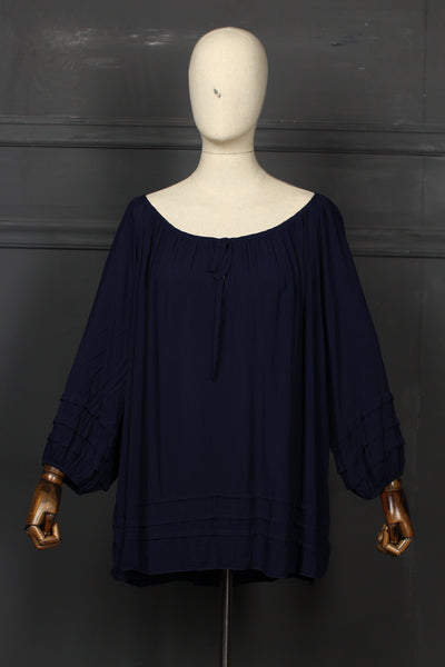 Dark Blue With Strips Fusion Top - 1208 - leftover.pk