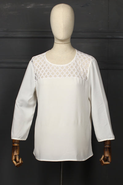 White Shoulder Laced Fusion Top - 1208 - leftover.pk