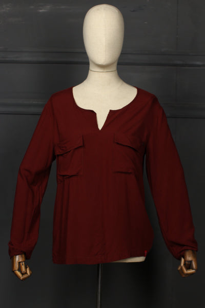 Maroon Pocket Style Fusion Top - 1208 - leftover.pk