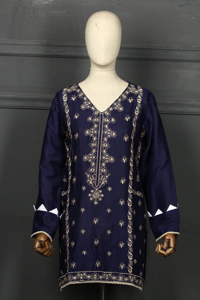 Dark Blue Embroidered Cotton Ready To Wear Kurta - 2808 - leftover.pk