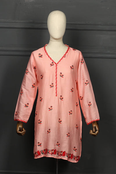 Pink Embroidered Cotton Ready To Wear Kurta - 2808 - leftover.pk