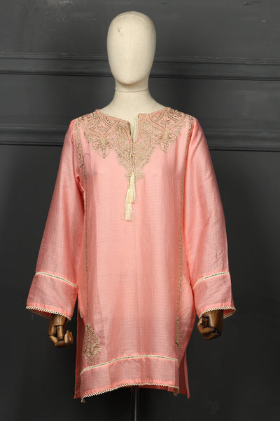 Light Pink Embroidered Cotton Ready To Wear Kurta - 2808 - leftover.pk