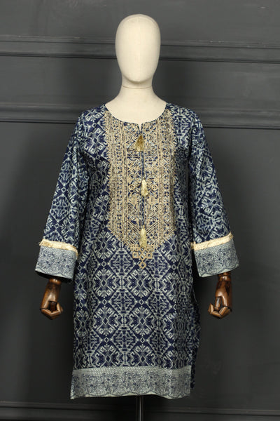 Blue Tilla Embroidered Cotton Ready To Wear Kurta - 2808 - leftover.pk