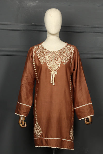 Brown Embroidered Cotton Ready To Wear Kurta - 2808 - leftover.pk