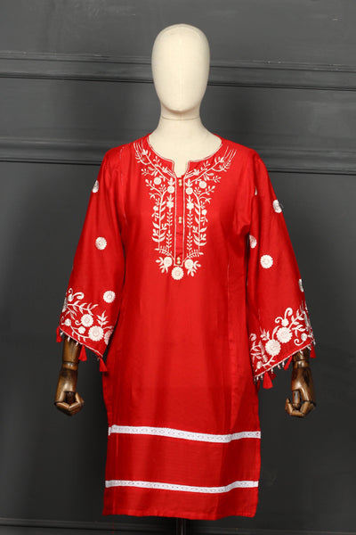 Red Embroidered Cotton Ready To Wear Kurta - 2808 - leftover.pk