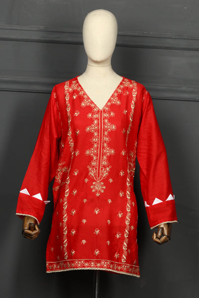 Dark Red Tilla Embroidered Cotton Ready To Wear Kurta - 2808 - leftover.pk