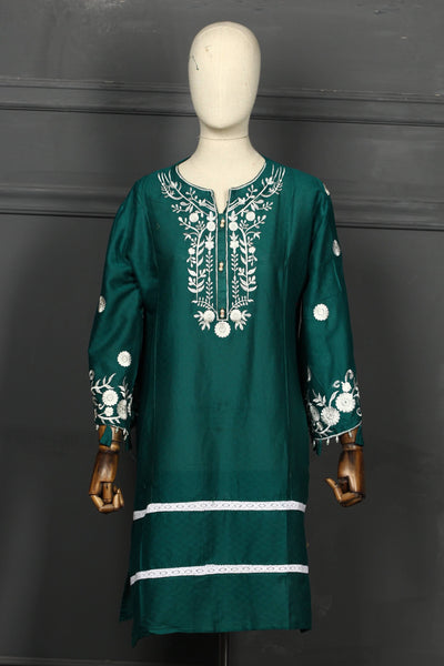 Light Green Embroidered Cotton Ready To Wear Kurta - 2808 - leftover.pk