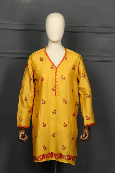 Mustard Embroidered Cotton Ready To Wear Kurta - 2808 - leftover.pk