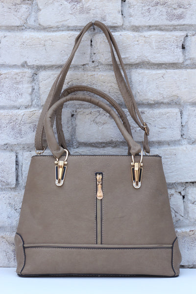 Ladies Grey Leather Hand Bag - leftover.pk
