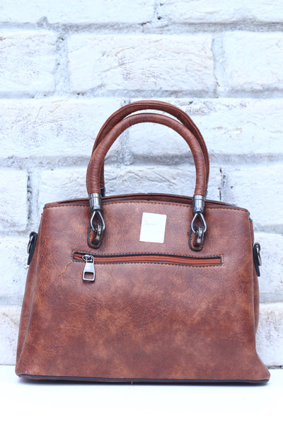 Ladies Brown Leather Hand Bag - leftover.pk