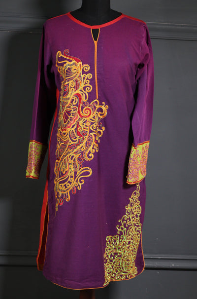 Purple and Bright Red Embroidered Karandi Ready To Wear Kurta (RG-EE-001) - leftover.pk