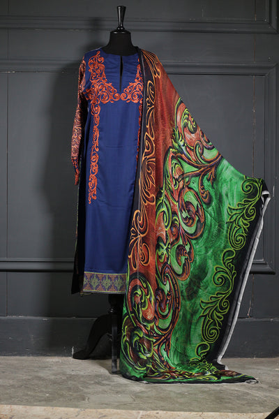 Blue& Orange & Lawn + Embroidered Shirt Pure Chiffon Dupatta Ready To Wear - leftover.pk