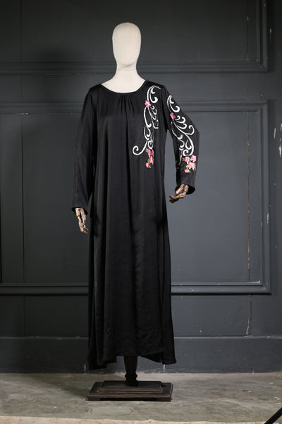 Black Silk Embroidered Abaya - Ready To Wear - leftover.pk