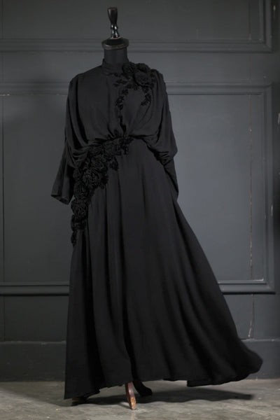 Black (Tone on Tone) Silk Embroidered Abaya - Ready To Wear - leftover.pk