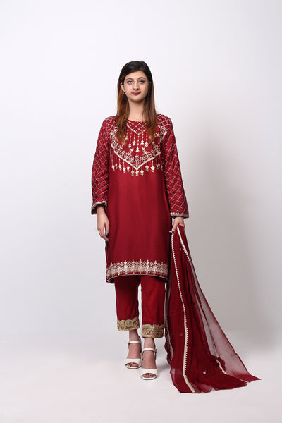 3 PC Unstitched Fancy Linen Shirt with Chiffon Dupatta & Cambric Trouser - leftover.pk