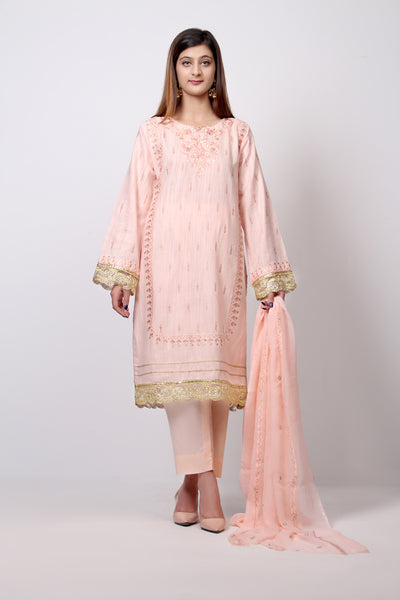 3 PC Unstitched Slub Khaddar Shirt with Chiffon Dupatta & Cambric Trouser - leftover.pk