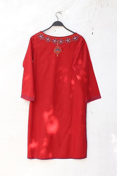 (A-03 ) Red - Artisan Crafted Embroidered Kurta - Cotton (905-SP-001) - leftover.pk
