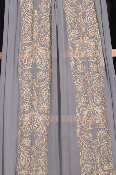 (C-03) Grey Embroidered Pure Chiffon Fabric By Metre - leftover.pk