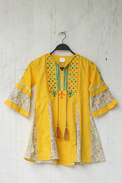 Dark Yellow Embroidered Kids Girls-0707 - leftover.pk