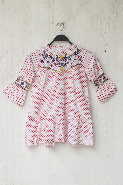 OffWhite Red Dots Kids Girls-0707 - leftover.pk