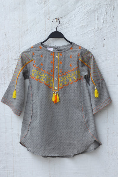 Grey with tessels Embroiderd Kids Girls-0707 - leftover.pk