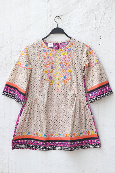 Pink & Yellow Embroiderd Kids Girls-0707 - leftover.pk