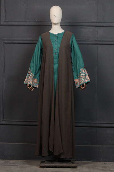 Light Green (Tone to Tone) Embroidered Abaya-0907 - leftover.pk