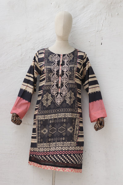 (D02) Embroidered + Digital Printed Kurta (135-KR-002) - leftover.pk