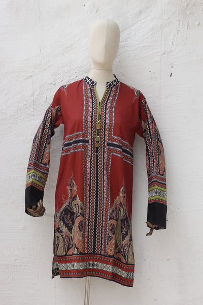(D02 ) Digital Printed Kurta (135-KR-001) - leftover.pk