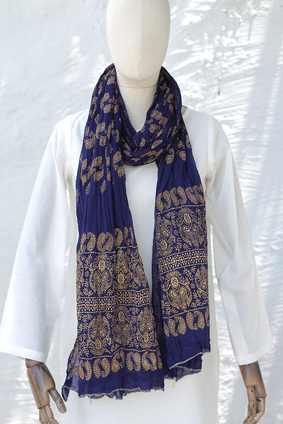 (C-05) Block Printed Crushed Cotton Dupatta - (225-DP-001) - leftover.pk
