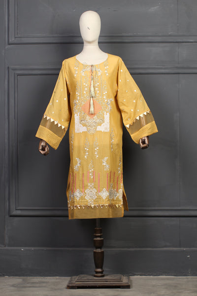 Lawn Karandi Straight Line kurta with Tilla work - leftover.pk